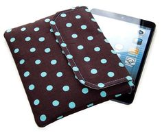 Polka Dot Ipad Mini Clutch Case Turquoise & Chocolate Brown £17.50