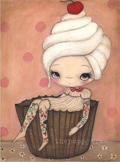 Cupcake Print Cute Cake Girl Tattoo Wall Art ---Tattood Cupcake Girl