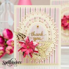 Designer Yana Smakula shares how she created this spectacular card, using the Stack and Fan Flowers set from Amazing Paper Grace Collection by Becca Feeken. View Dimensional Paper Flowers Embellishments by Spellbinders video below for a visual tutorial... Other Supplies: Clear Stamp; Gold Mirror Cardstock; Foam Adhesive; Embossing Powder; Vellum; Brads; Gold Metallic Thread