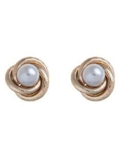 Swirl Pearl Stud Earrings