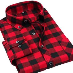 VFan Flannel Men's Plaid Long Sleeve Slim Fit Warm Shirts For Casual Or Business