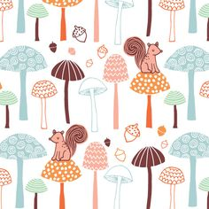 Woodland squirrels mushrooms and acorns Lily Pink Studio Copyright © lilypinkstudio 2014 all rights reserved