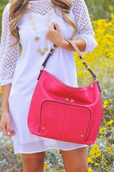 Sondra Roberts Nappa Pocket Hobo - Fucshia from Closet Candy Boutique