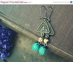 Boho Triangle Drop Earrings Turquoise Gold by MoreThanPrettyThings