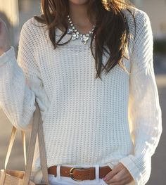 white summer sweater white jeans