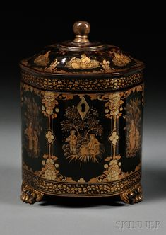 Chinese Lacquer Tea Caddy, China, early century, hexagonal shape gilt decorated with floral framed panels of figures, set on three paw feet