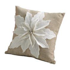 Amazon.com - White Poinsettia Felt Holiday Design Decorative Throw Pillow, 17-inch Square -
