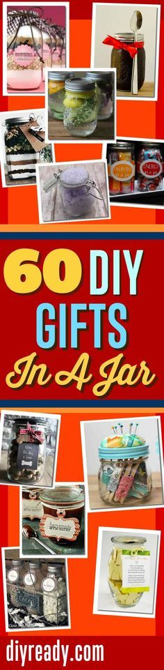 DIY Gifts In A Jar | Mason Jar Gift Ideas and DIY Gifts | DIY Projects for the Home, Women, Men, Teens and Kids http://diyready.com/60-cute-and-easy-diy-gifts-in-a-jar-christmas-gift-ideas/