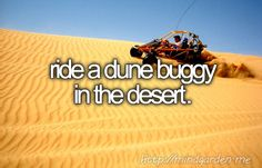 bucket list - ride a dune buggy in the desert.