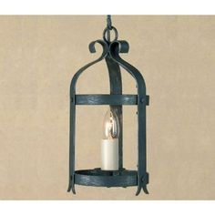 This is the smallest lantern in the antique black finish which has a single candle style light with a white candle sleeve. Makes a super lantern for an entrance hall of a Medieval, Tudor, Elizabethan or Jacobean style property. Wrought iron rustic lights are also a great choice for lighting in barn conversions and in our older churches.