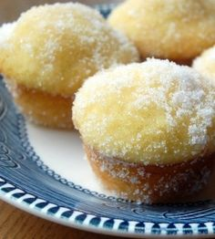 """Recipe for Lemon Yogurt Sugar Mini Muffins - From other pinner: """"With their tangy flavor, moist texture, and crackly sugar coating, these muffins are perfect for a quick breakfast, or a fun after-school snack."""""""
