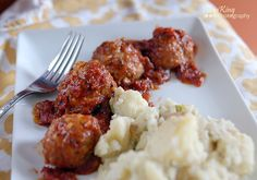 Turkey Chili Meatballs with Sour Cream Smashed Potatoes