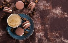 Wallpapers on desktop. Wallpaper coffee cup, macaroon, cookies, cream, sweet, macaron, almond, coffee, cookies, dessert, Cup, cakes to download.