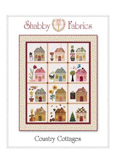 "offers free patterns on their website.""Country Cottages"" Block-of-the-Month quilt is cleverly decorated to represent each month. July block is so cute! House Quilt Patterns, House Quilt Block, Quilt Block Patterns, Pattern Blocks, Pattern Sewing, Free Pattern, Colchas Quilt, Applique Quilts, Quilt Blocks"