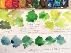 Dawn Tan - Tips and Tricks - Watercolor - mixing greens Watercolor Mixing, Watercolor Tips, Watercolour Tutorials, Watercolor Techniques, Art Techniques, Watercolor Flowers, Watercolor Paintings, Watercolours, Color Mixing Chart