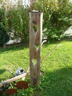 Holz Stehle Skulptur Deko Impression Garten Tersasse Herz Brett in Trendelburg