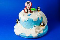 torta palle di neve in pasta di zucchero