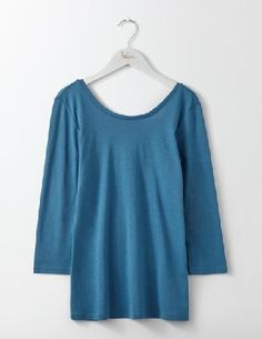 #Boden Supersoft Ballet Back Azure Women Boden, Blue #Flattering, feminine, and extremely comfortable: we cant get enough of this supersoft (and super elegant) top. The slim fit and scooped back will have you looking as graceful as an off-duty prima ballerina. Complete the look with a floral flippy skirt or boyfriend jeans. And a ballet bun - naturally.