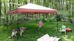 Product: Strongway Pop-Up Canopy — x Straight Leg, Gray and Red Portable Sheds, Backyard Furniture, Roof Panels, Alexandria, Bird Houses, Canopy, Pop Up, Gazebo, Rain