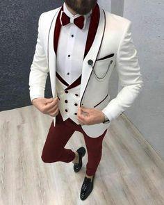 Men Suits Wedding Suit Formal fashion White Suit 3 Piece   Etsy Costume Blanc, Mode Costume, Men's Tuxedo Wedding, Wedding Suits, Wedding Groom, Wedding Men, Wedding Tuxedos, Ivory Wedding, Summer Wedding