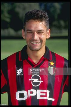 A portrait of Roberto Baggio of A.C Milan taken during the club photocall. Mandatory Credit: Allsport UK