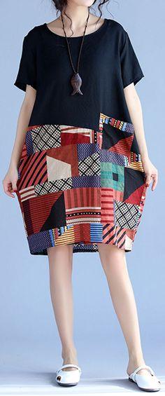 US$17.91 Gracila Print Patchwork Short Sleeve O Neck Women Dresses