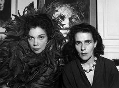 Leonor Fini and Leonora Carrington, 1952 - by Denise Colomb. 'Leonor Fini painting super-heroines before their time - Leonor Fini & Leonora Carrington via TheWanderfullTraveler.com #ArtSmart '