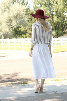 S T R I P E S . I N . B L O O M: .those early fall vibes. fall fashion, fall style, striped blouse, gem jewelry, red hat, floppy hat, white lace skirt, white midi skirt, nude pumps, nude heels, dressy casual look, utah fashion, modesty, modest style, modest fashion, tortoise sunglasses, trends, fall trends, striped blouse, burgundy hat, burgundy felt hat j.crew necklace