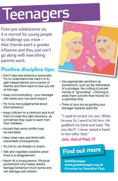 It is normal behaviour for teenagers to start challenging their parents, but can be difficult to deal with. Here are some positive discipline tips to help you cope with conflict. Have a look at the complete NSPCC guide here: http://www.nspcc.org.uk/help-and-advice/for-parents-and-carers/guides-for-parents/better-behaviour/better-behaviour_wda90710.html #parentingtipsforteens