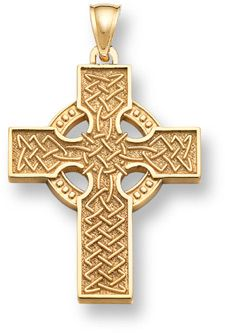 Large Yellow Gold double sided Celtic Cross pendant Jewelry