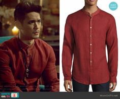 Magnus's red linen shirt on Shadowhunters. Outfit Details: https://wornontv.net/74020/ #Shadowhunters