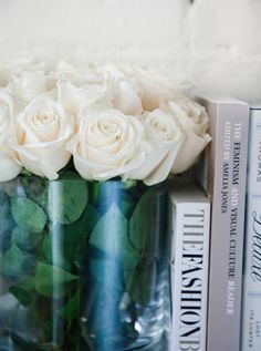 Flowers white roses as book -ends