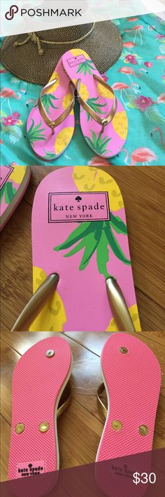 KATE SPADE NASSAU THONGS Pineapples, gold coloring straps and BRAND NEW kate spade Shoes Sandals