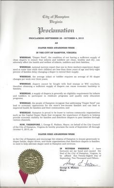Hampton, VA -- Mayoral proclamation recognizing Diaper Need Awareness Week (Sept. 28 - Oct. 4, 2015) www.diaperneed.org #DiaperNeed