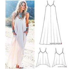 Long Dress Patterns, Dress Sewing Patterns, Hippie Dresses, Boho Dress, Diy Fashion, Fashion Dresses, Look Boho, Casual Dresses, Summer Dresses