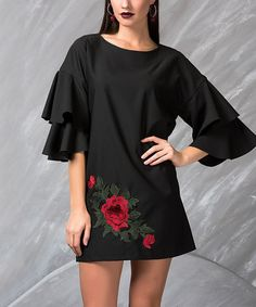 Look what I found on #zulily! Black Rose-Accent Ruffle-Sleeve Shift Dress #zulilyfinds