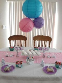 Decorations and party table at a pajama birthday party! See more party ideas at CatchMyParty.com!
