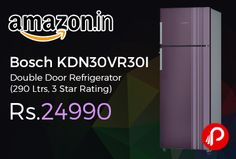 Amazon #LightningDeal is offering 35% off on #Bosch KDN30VR30I Double Door #Refrigerator (290 Ltrs, 3 Star Rating) Just at Rs.24990. Frost-free freezer-on-top refrigerator; 290 litres capacity, 3 Star Energy Rating, Vita fresh reduces wastage as vegetables, fruits and milk are kept fresh for longer,   http://www.paisebachaoindia.com/bosch-kdn30vr30i-double-door-refrigerator-290-ltrs-3-star-rating-just-at-rs-24990-amazon/