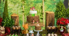 Check out Matteo's Enchanted Forest Birthday Party featured here at Kara's Party Ideas. Forest Party, Woodland Party, Fairy Birthday Party, 1st Birthday Parties, Tinkerbell Party, Safari Party, Baby Party, Christmas Design, Animal Party