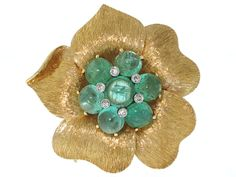 Emerald Flower Brooch in 14K- Beladora Antique and Estate Jewelry