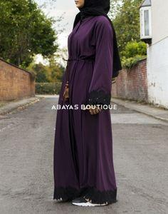Soft Aubergine Open abaya with black lace