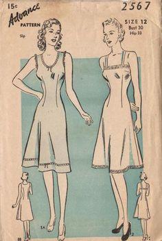 Vintage 1940s Advance Sewing Pattern 2567 Ladies Slip Camisole Top Bust 30 Hip 33
