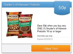 SavingStar $$ New eCoupons Available: 3 New Snyder's of Hanover Coupons & More (8/8)!