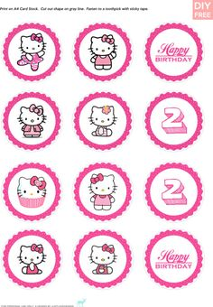 JUSTLOVEDESIGN - DIY FREE Hello Kitty Cupcake Toppers - Download...