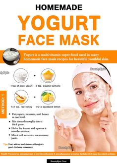 Yogurt Face Mask: Benefits + 8 DIY Recipes Yogurt - just like the health benefits it has several beauty benefits as well. Here we explain some effective homemade yogurt face mask recipes let us read Face Scrub Homemade, Homemade Face Masks, Homemade Skin Care, Homemade Facials, Yogurt Face Mask, Lemon Face Mask, Banana Face Mask, Yogurt Benefits, Beauty Tricks