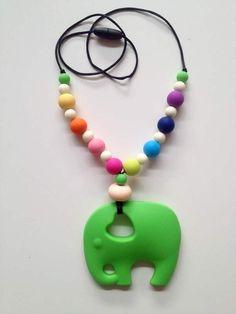Bijtketting regenboog met olifant (diverse kleuren en figuren mogelijk)