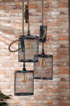 Loft Lighting, Rustic Lighting, Industrial Lighting, Steel Furniture, Industrial Furniture, Diy Furniture, Wood Laser Ideas, Led Diy, Cool Lamps