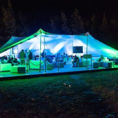 freeform tent at night