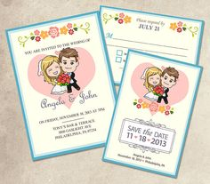 Wedding Invitation Suite Custom Cartoon Printable by NanicoStudio, $49.00