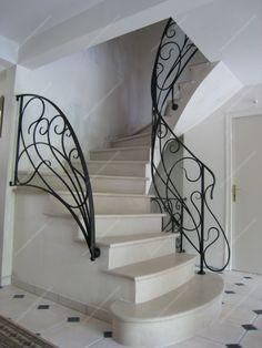 Rampes d'escalier en fer forgé Style Art nouveau : Modèle Liane                                                                                                                                                                                 Plus